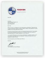Toshiba 15 year letter